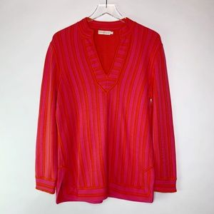 Tory Burch V-Neck Striped Jersey Tunic